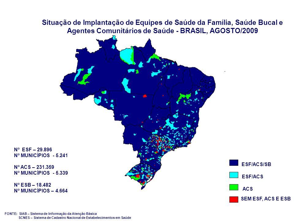09/20/09 Situação de Implantação de Equipes de Saúde da Família, Saúde Bucal e Agentes Comunitários de Saúde - BRASIL, AGOSTO/2009.