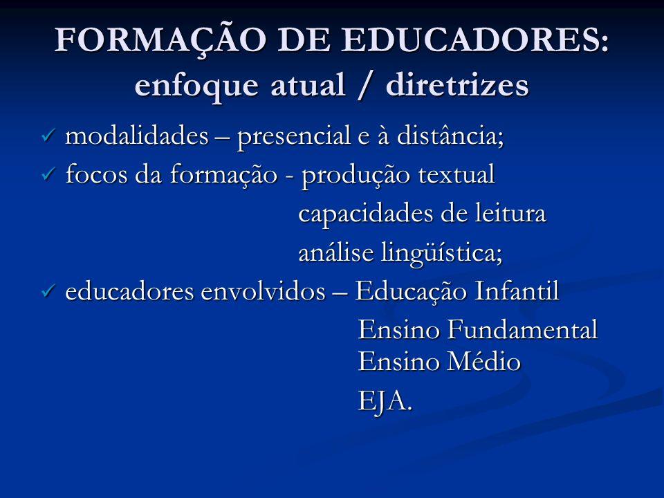 FORMAÇÃO DE EDUCADORES: enfoque atual / diretrizes