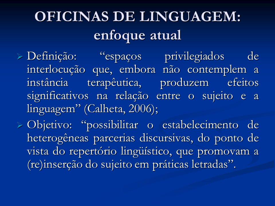 OFICINAS DE LINGUAGEM: enfoque atual