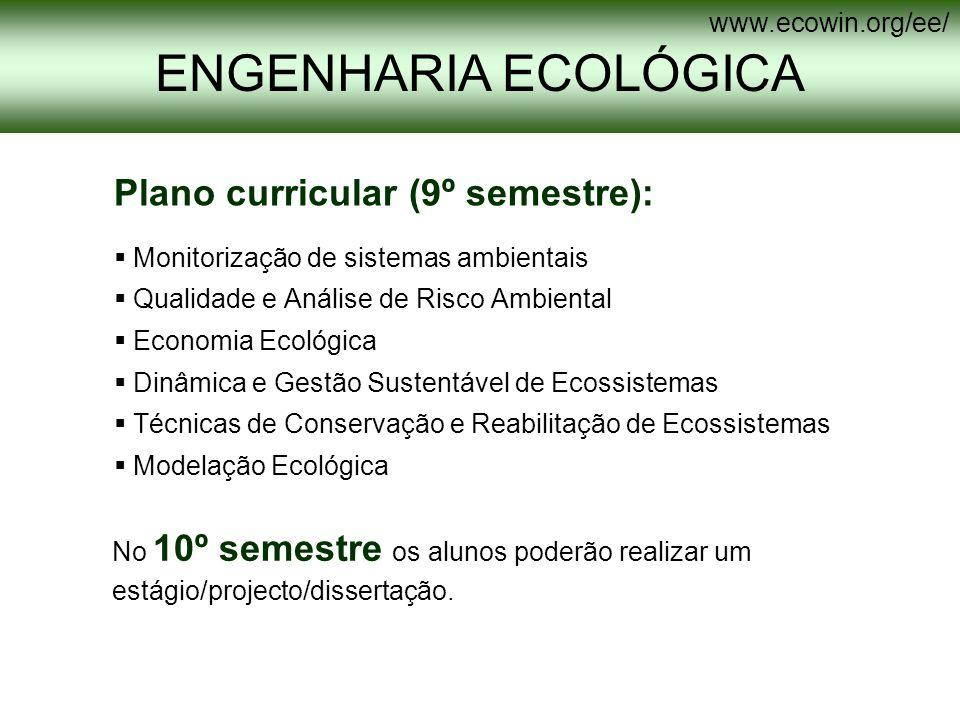 ENGENHARIA ECOLÓGICA Plano curricular (9º semestre):