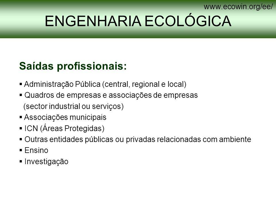 ENGENHARIA ECOLÓGICA Saídas profissionais: www.ecowin.org/ee/
