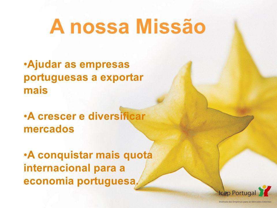 A nossa Missão Ajudar as empresas portuguesas a exportar mais