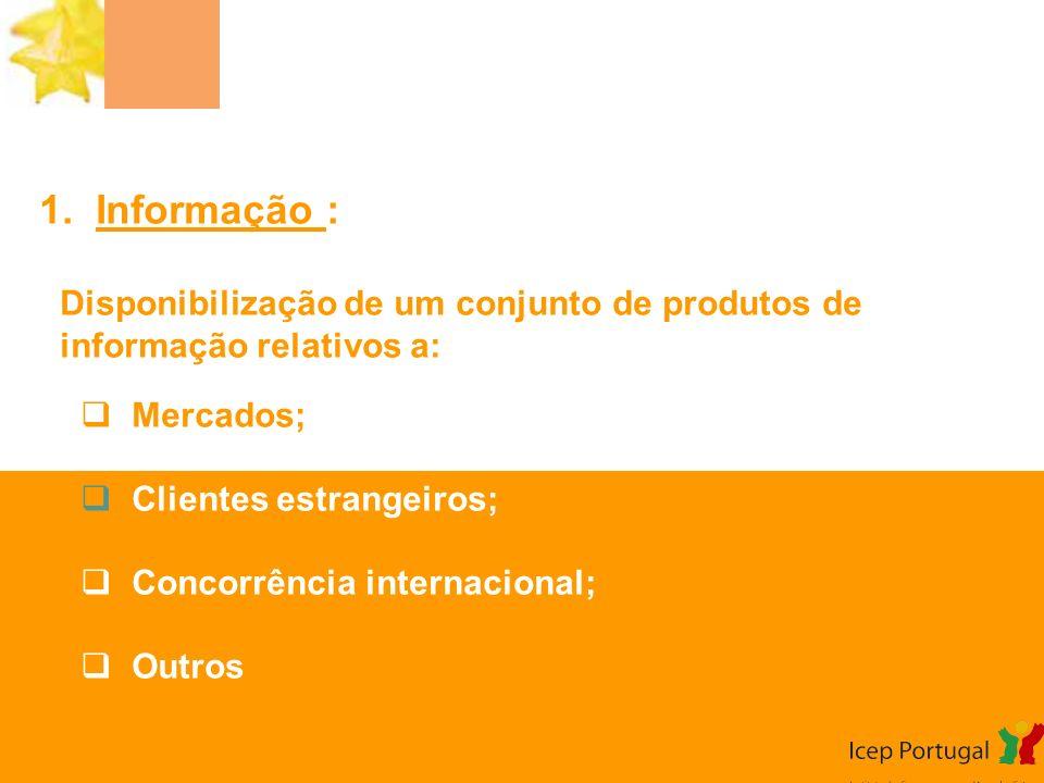 1. Informação : Disponibilização de um conjunto de produtos de informação relativos a: Mercados; Clientes estrangeiros;
