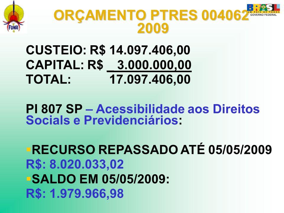 ORÇAMENTO PTRES 004062 2009 CUSTEIO: R$ 14.097.406,00
