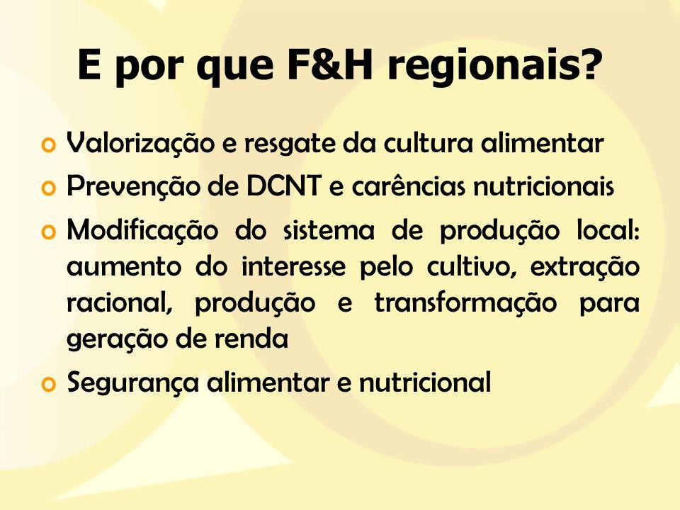 E por que F&H regionais Valorização e resgate da cultura alimentar