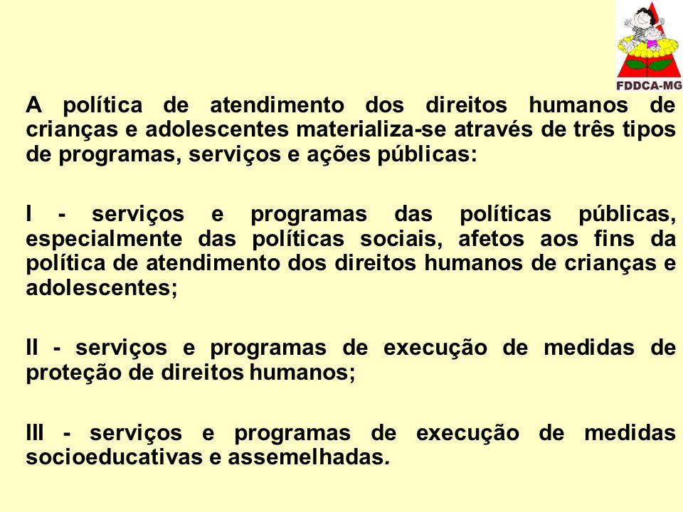 A política de atendimento dos direitos humanos de crianças e adolescentes materializa-se através de três tipos de programas, serviços e ações públicas: