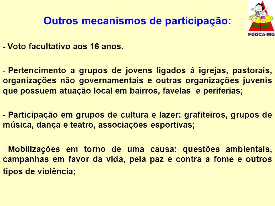 Outros mecanismos de participação: