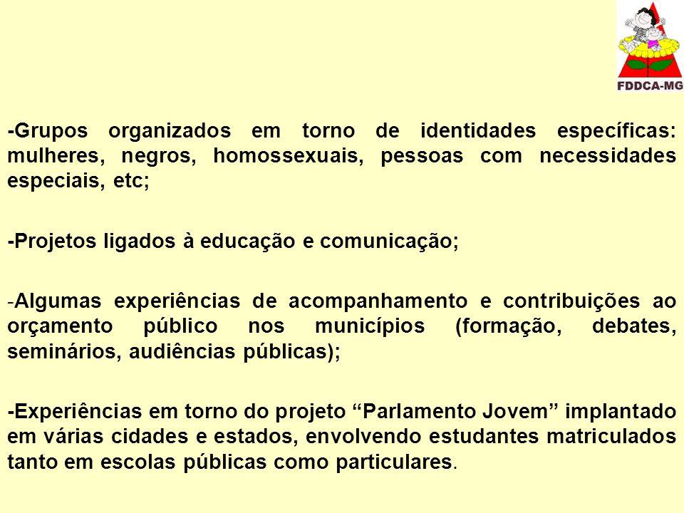 -Grupos organizados em torno de identidades específicas: mulheres, negros, homossexuais, pessoas com necessidades especiais, etc;