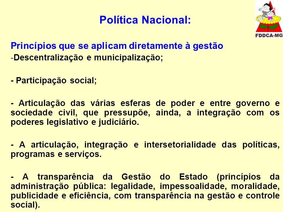 Política Nacional: Princípios que se aplicam diretamente à gestão