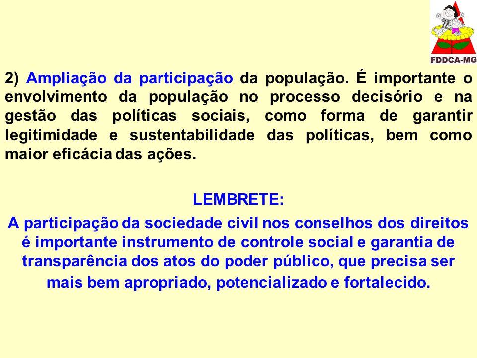 2) Ampliação da participação da população