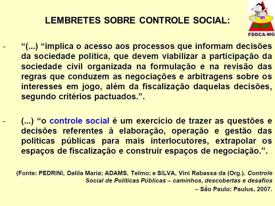LEMBRETES SOBRE CONTROLE SOCIAL: