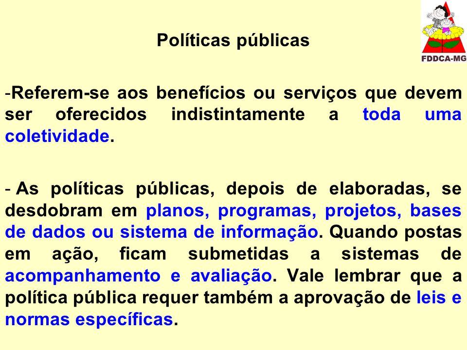 Políticas públicas Referem-se aos benefícios ou serviços que devem ser oferecidos indistintamente a toda uma coletividade.