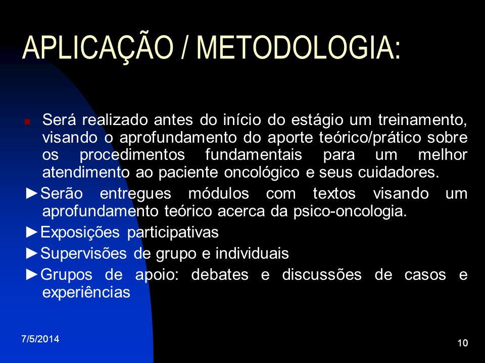 APLICAÇÃO / METODOLOGIA: