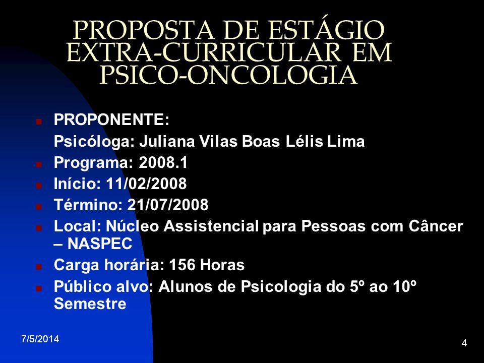 PROPOSTA DE ESTÁGIO EXTRA-CURRICULAR EM PSICO-ONCOLOGIA