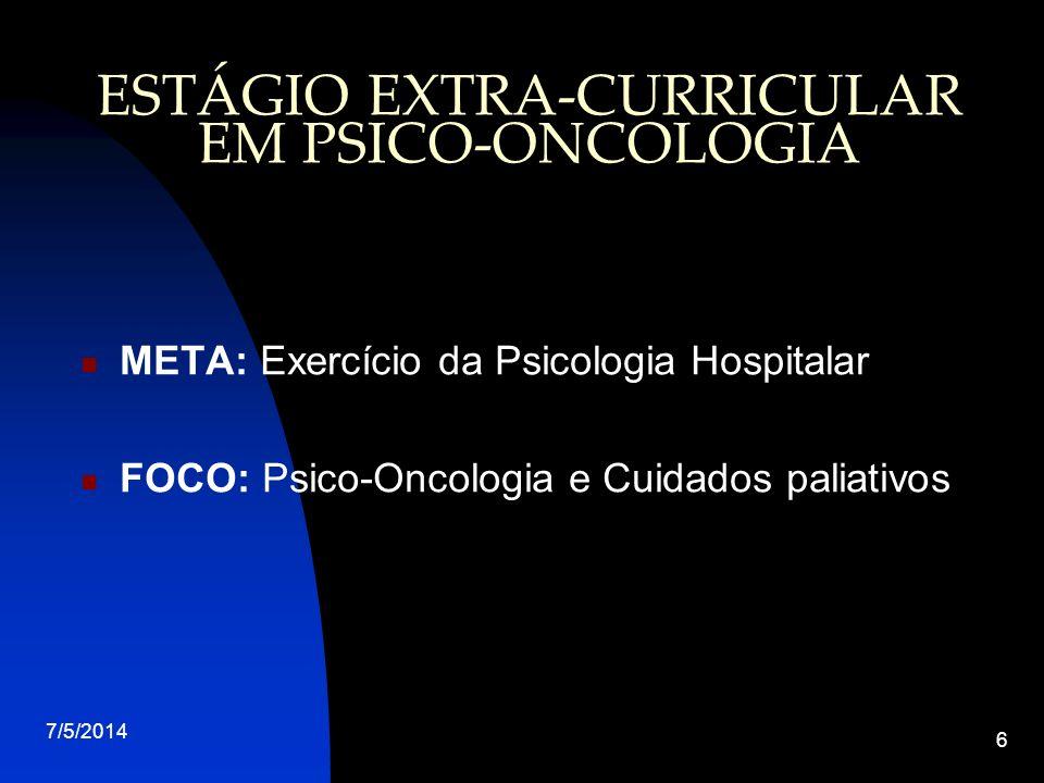ESTÁGIO EXTRA-CURRICULAR EM PSICO-ONCOLOGIA