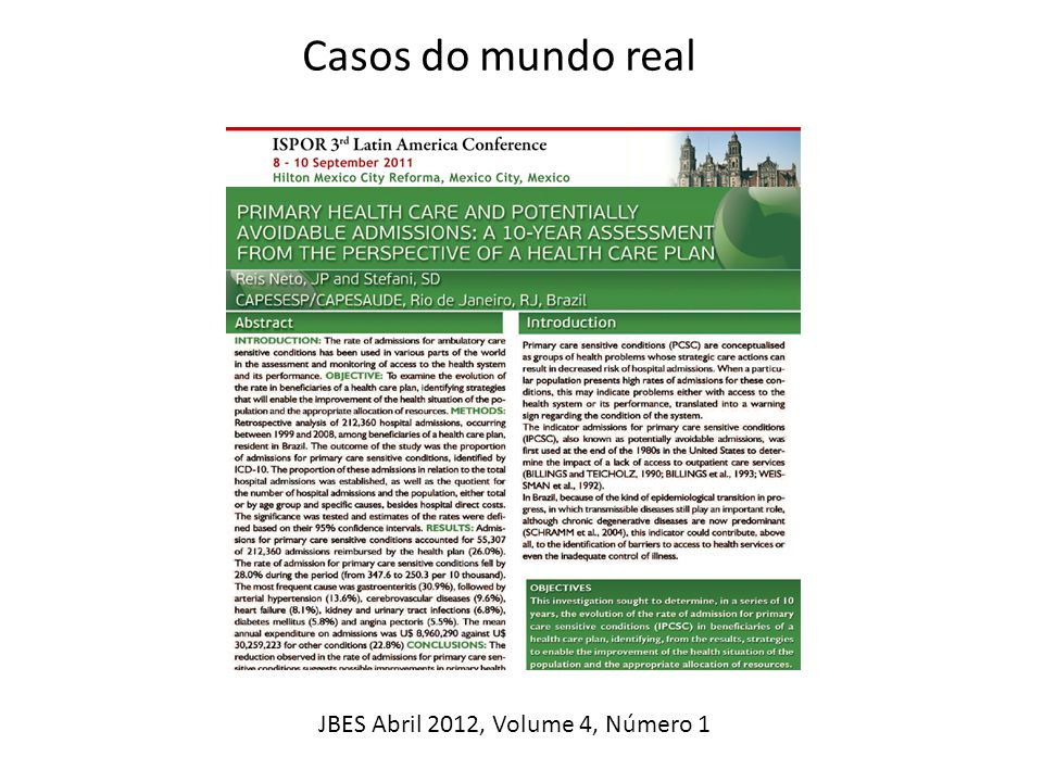 Casos do mundo real JBES Abril 2012, Volume 4, Número 1 (Difficult)