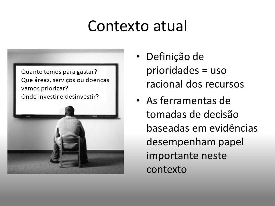 Contexto atual Definição de prioridades = uso racional dos recursos