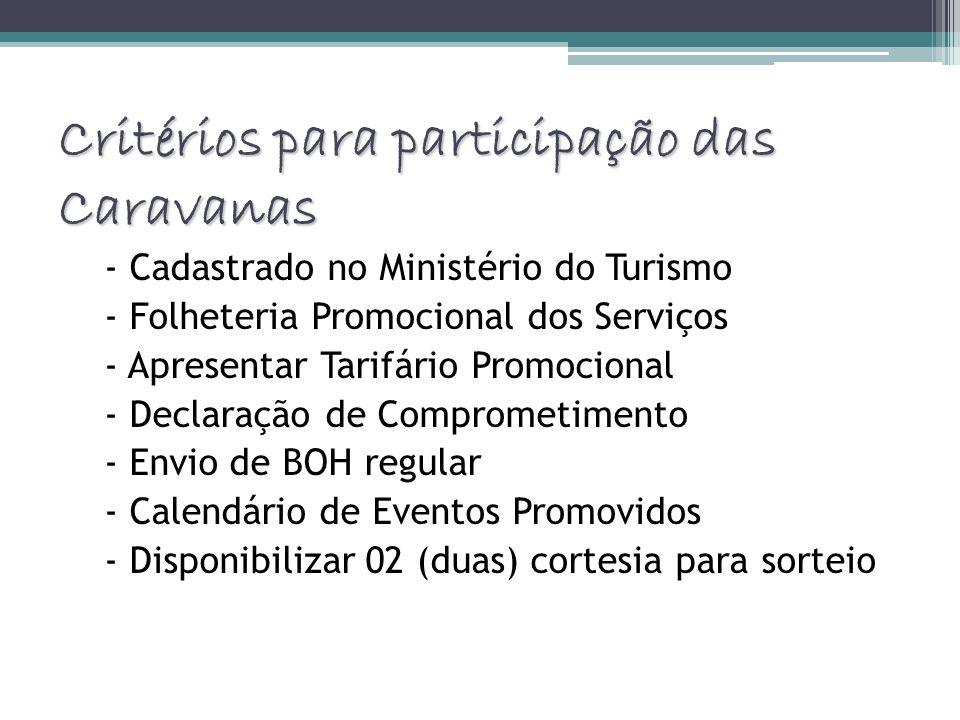 Critérios para participação das Caravanas