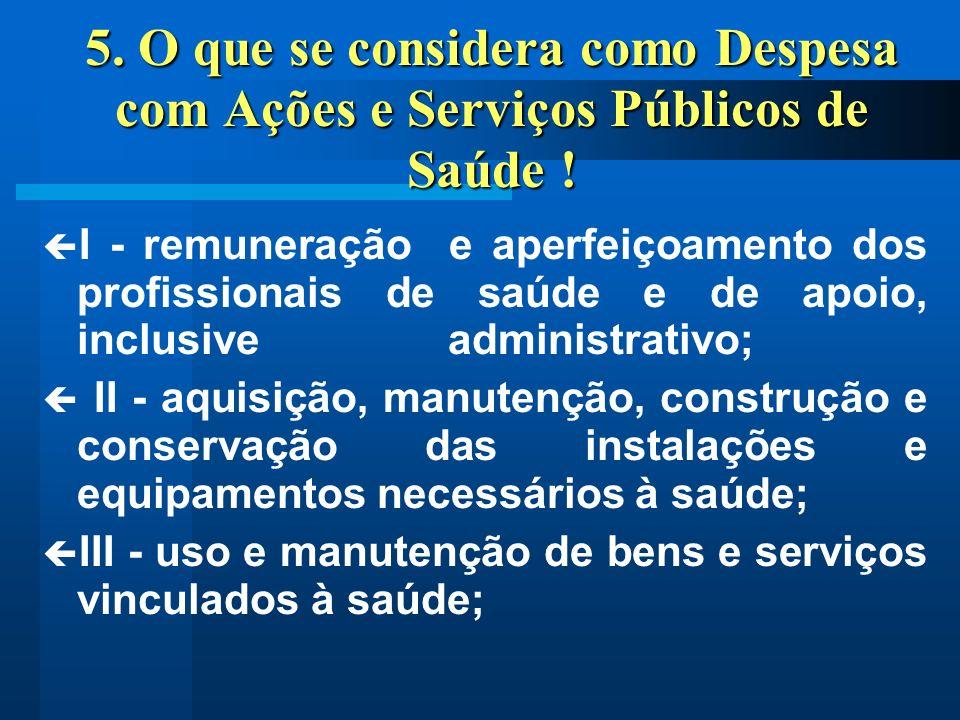 5. O que se considera como Despesa com Ações e Serviços Públicos de Saúde !