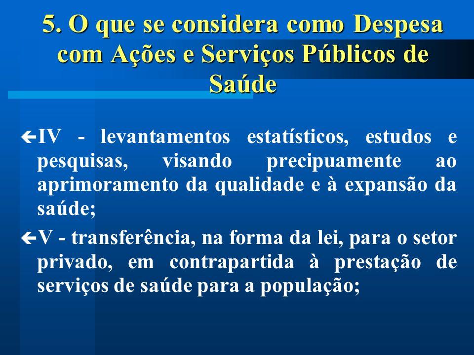 5. O que se considera como Despesa com Ações e Serviços Públicos de Saúde