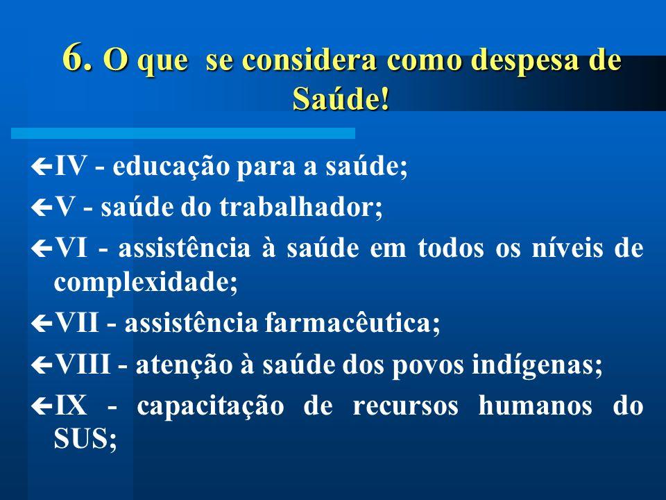 6. O que se considera como despesa de Saúde!