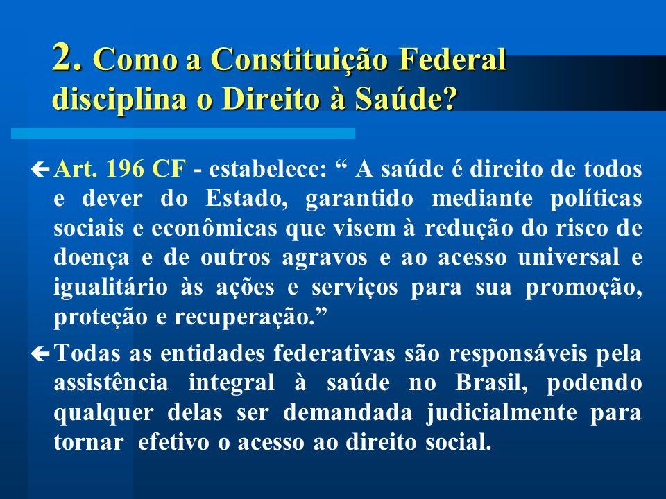 2. Como a Constituição Federal disciplina o Direito à Saúde