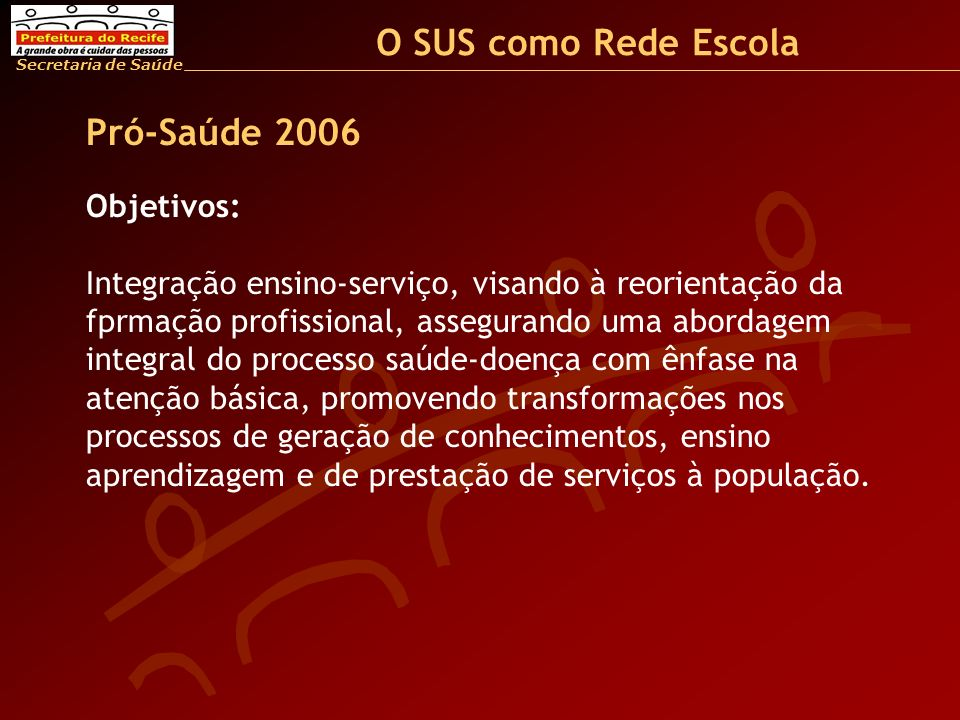 O SUS como Rede Escola Pró-Saúde 2006 Objetivos: