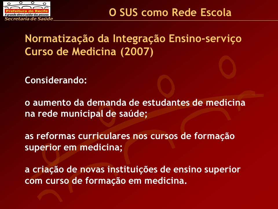 Normatização da Integração Ensino-serviço Curso de Medicina (2007)