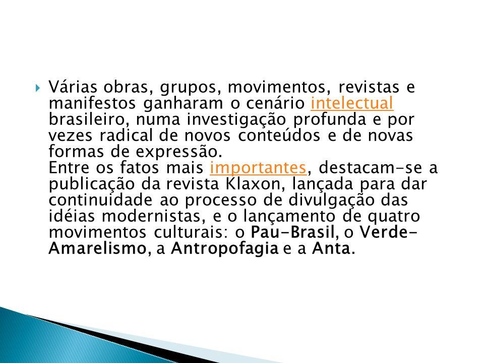 Várias obras, grupos, movimentos, revistas e manifestos ganharam o cenário intelectual brasileiro, numa investigação profunda e por vezes radical de novos conteúdos e de novas formas de expressão.