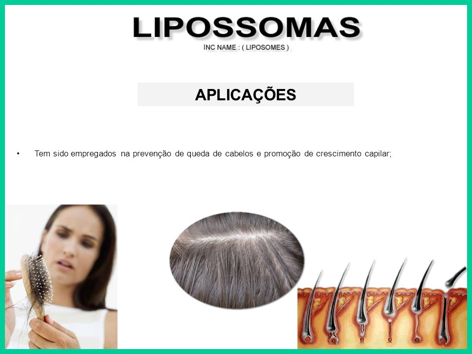 APLICAÇÕES Tem sido empregados na prevenção de queda de cabelos e promoção de crescimento capilar;