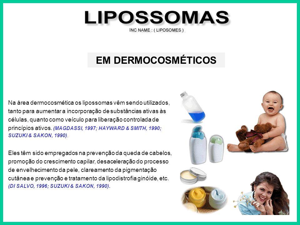 EM DERMOCOSMÉTICOS Na área dermocosmética os lipossomas vêm sendo utilizados, tanto para aumentar a incorporação de substâncias ativas às.