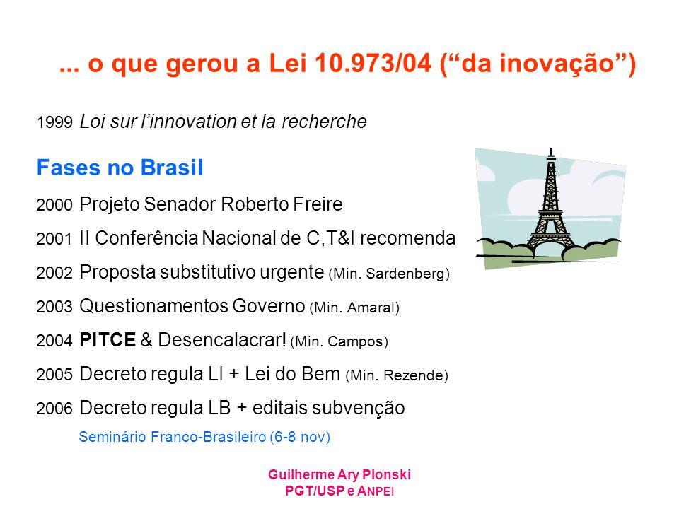 ... o que gerou a Lei 10.973/04 ( da inovação )