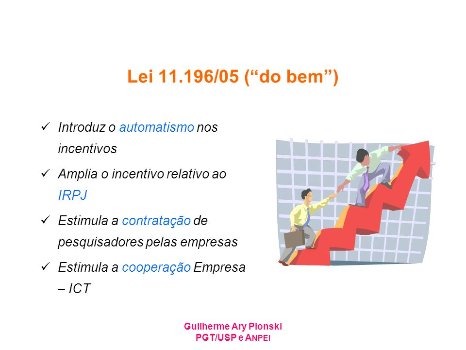 Lei 11.196/05 ( do bem ) Introduz o automatismo nos incentivos