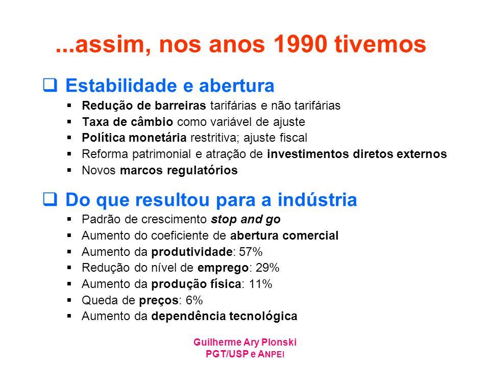 ...assim, nos anos 1990 tivemos Estabilidade e abertura