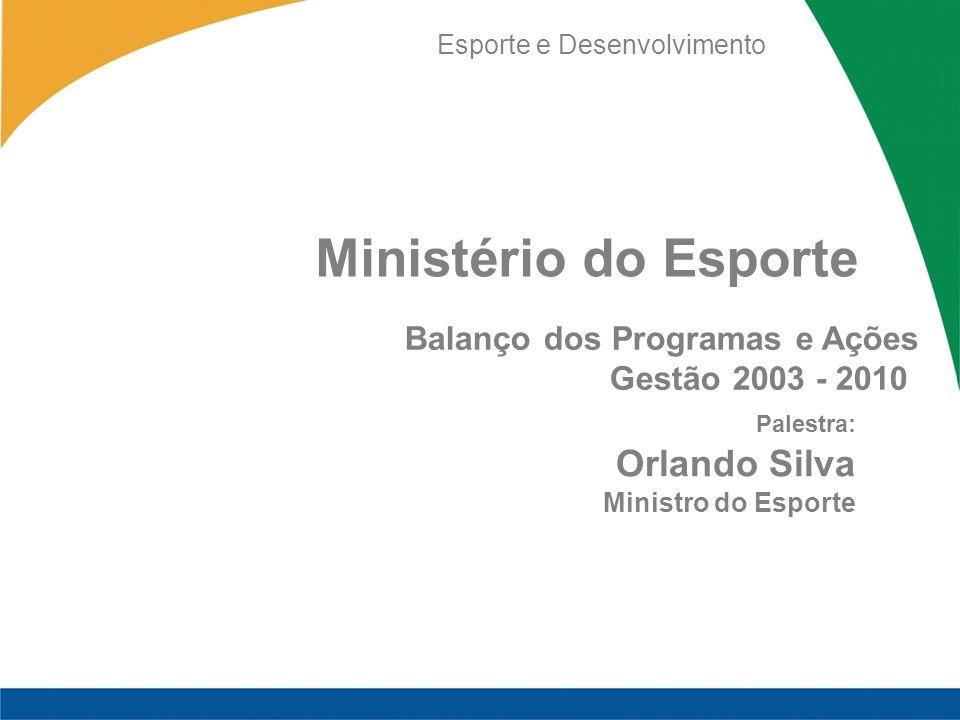 Ministério do Esporte Orlando Silva Balanço dos Programas e Ações