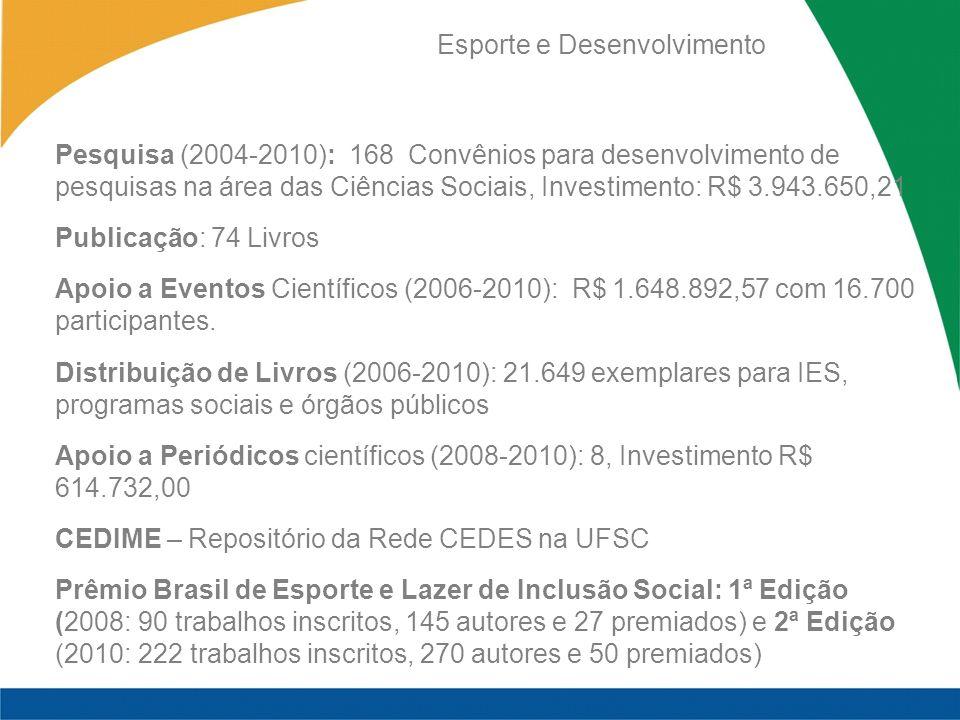 Pesquisa (2004-2010): 168 Convênios para desenvolvimento de pesquisas na área das Ciências Sociais, Investimento: R$ 3.943.650,21