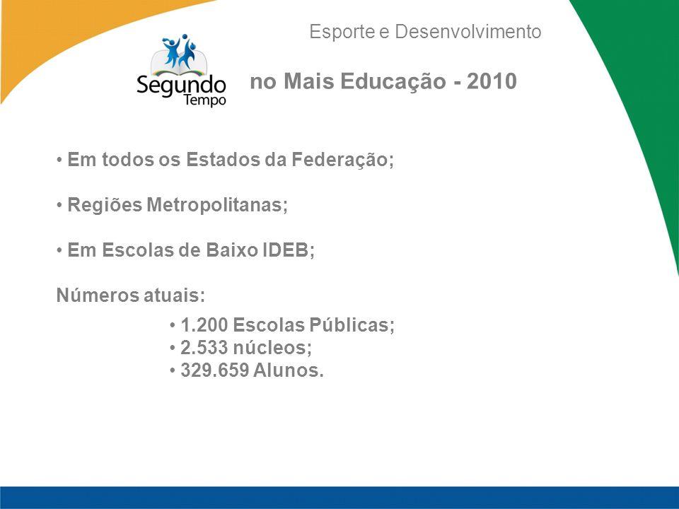 no Mais Educação - 2010 Em todos os Estados da Federação;