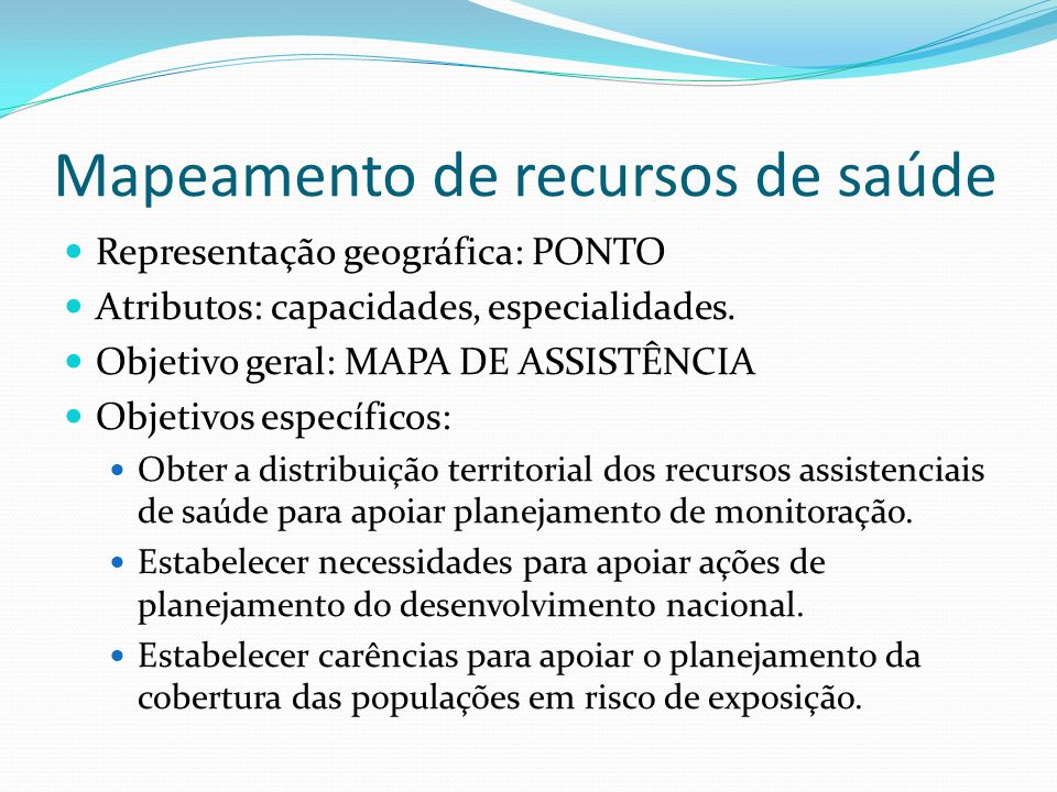 Mapeamento de recursos de saúde