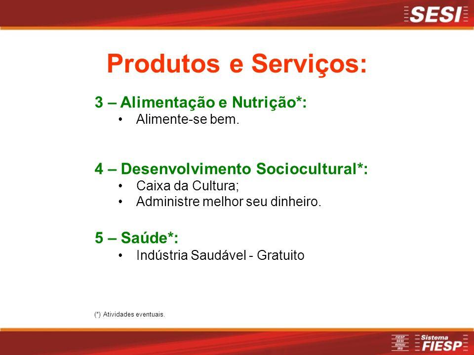 Produtos e Serviços: 3 – Alimentação e Nutrição*: