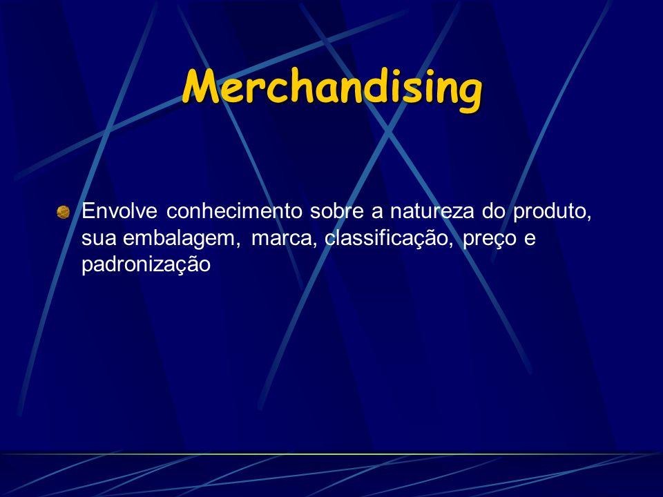 Merchandising Envolve conhecimento sobre a natureza do produto, sua embalagem, marca, classificação, preço e padronização.