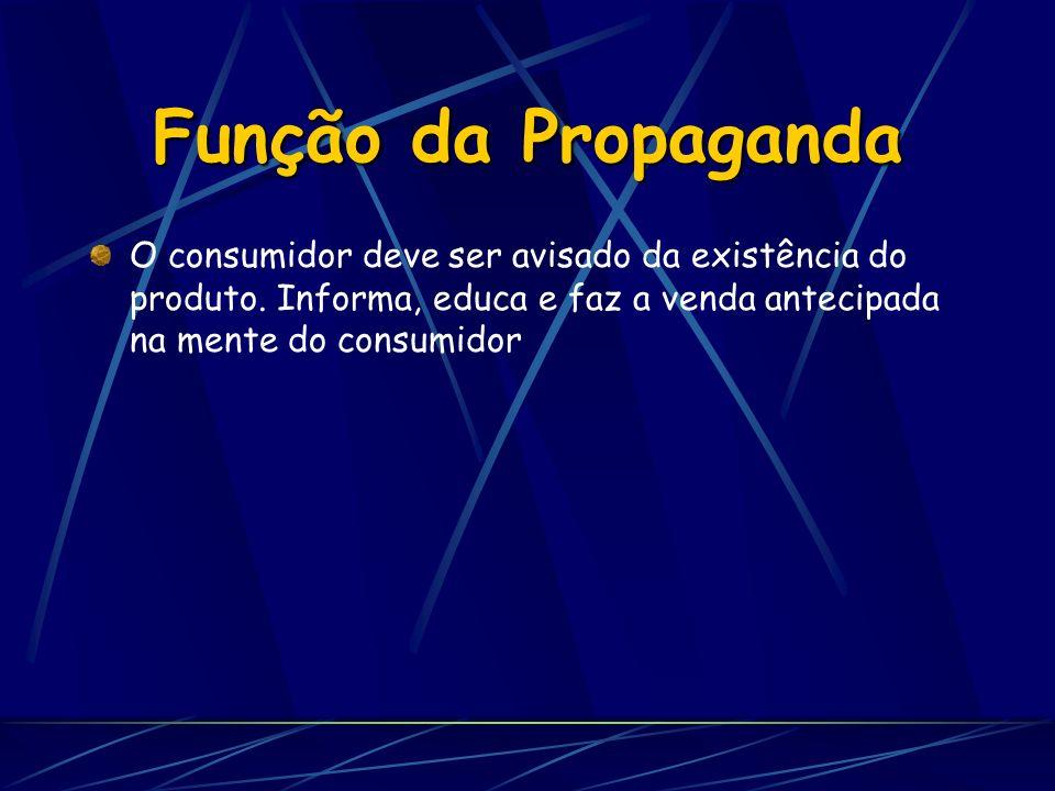 Função da Propaganda O consumidor deve ser avisado da existência do produto.