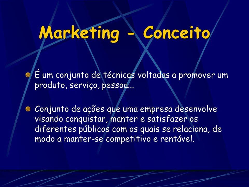 Marketing - Conceito É um conjunto de técnicas voltadas a promover um produto, serviço, pessoa...