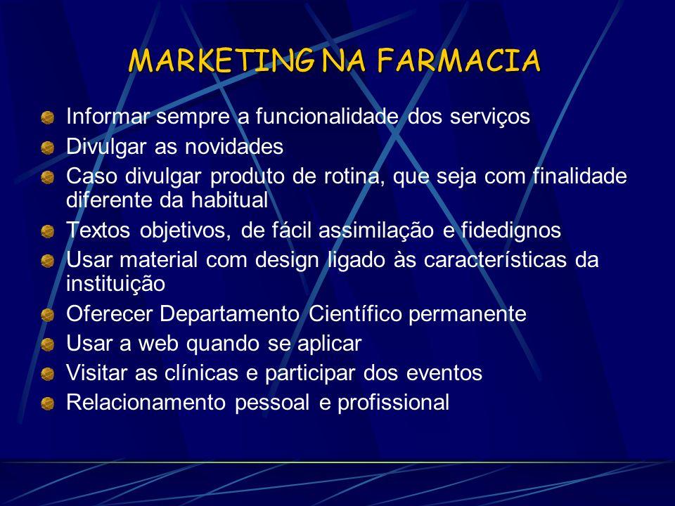 MARKETING NA FARMACIA Informar sempre a funcionalidade dos serviços