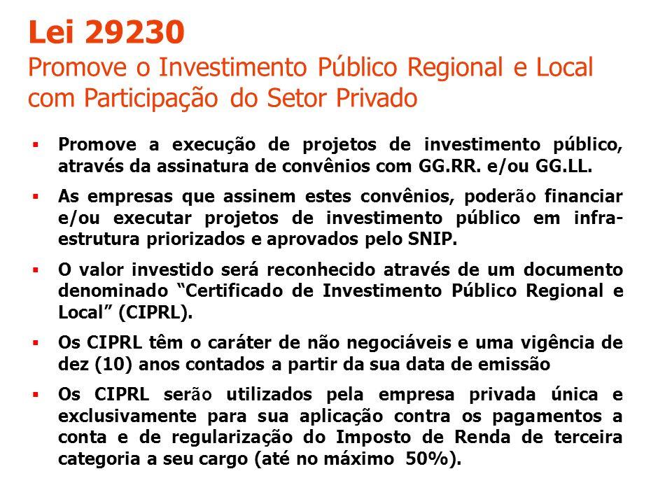 Lei 29230 Promove o Investimento Público Regional e Local com Participação do Setor Privado.