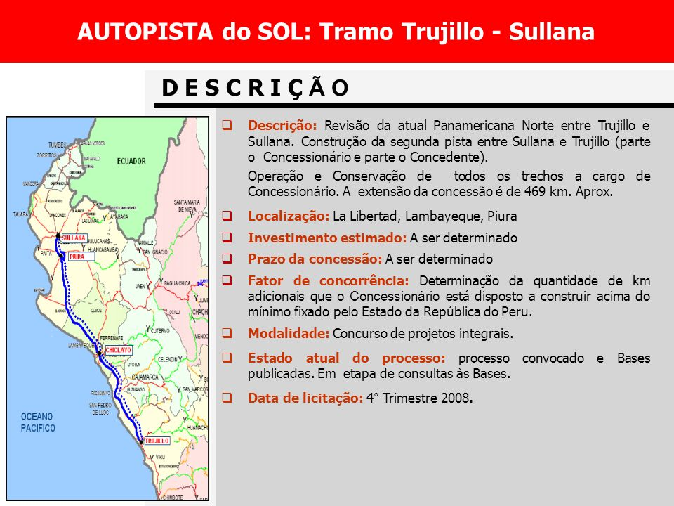 AUTOPISTA do SOL: Tramo Trujillo - Sullana