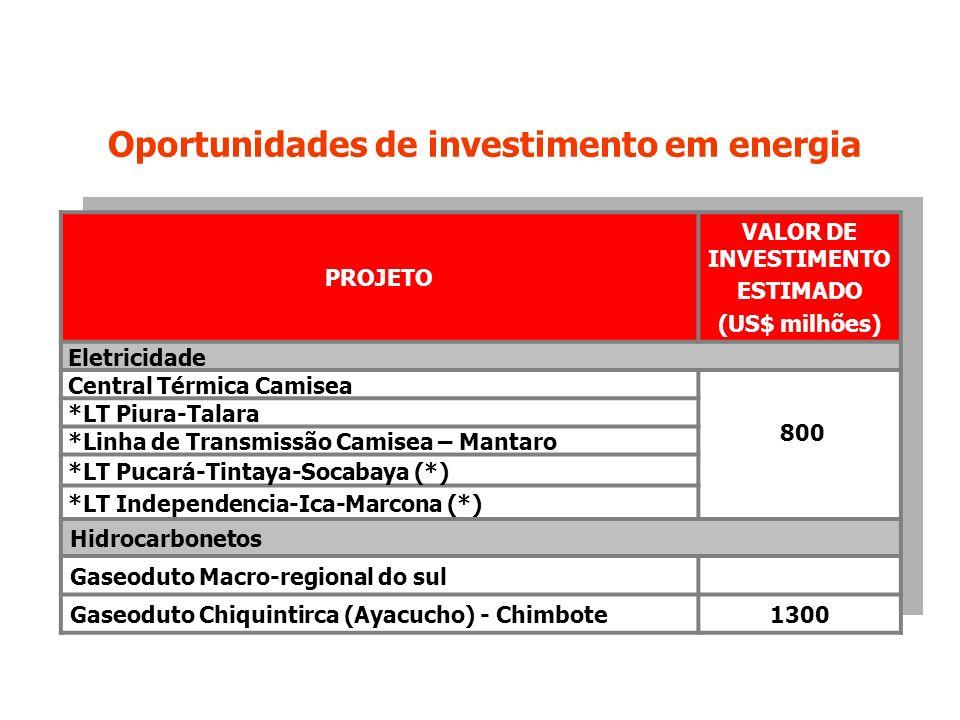 Oportunidades de investimento em energia