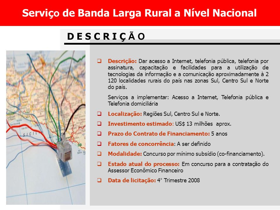 Serviço de Banda Larga Rural a Nível Nacional