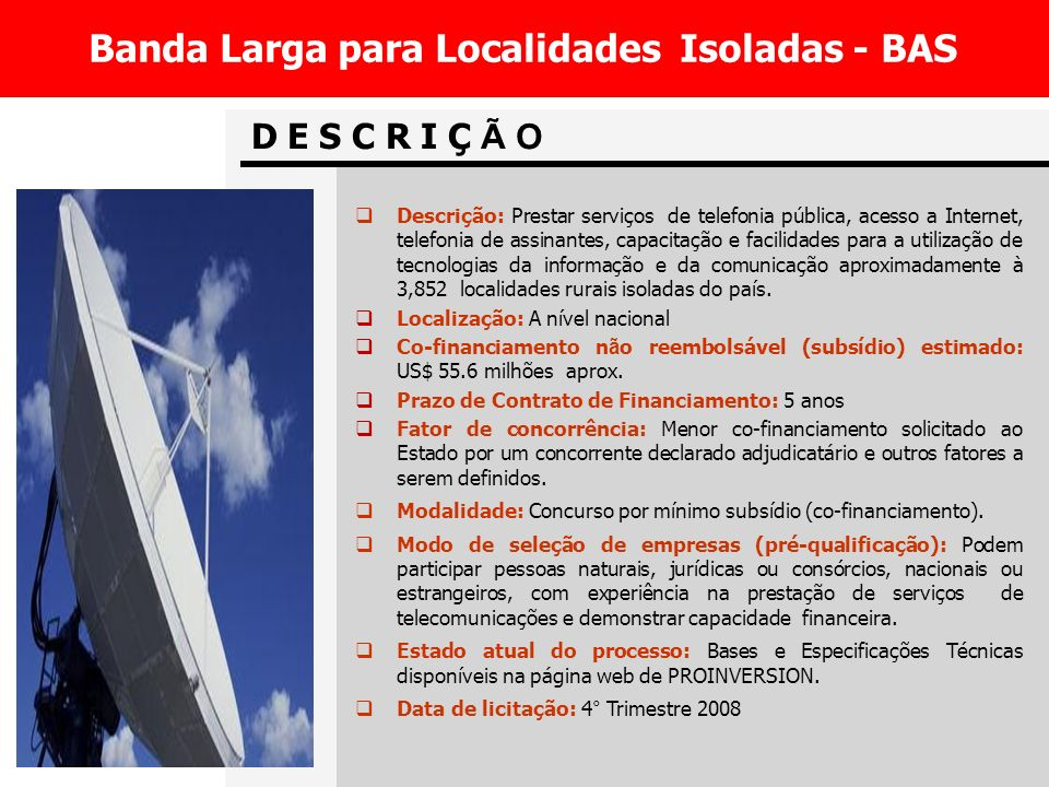 Banda Larga para Localidades Isoladas - BAS