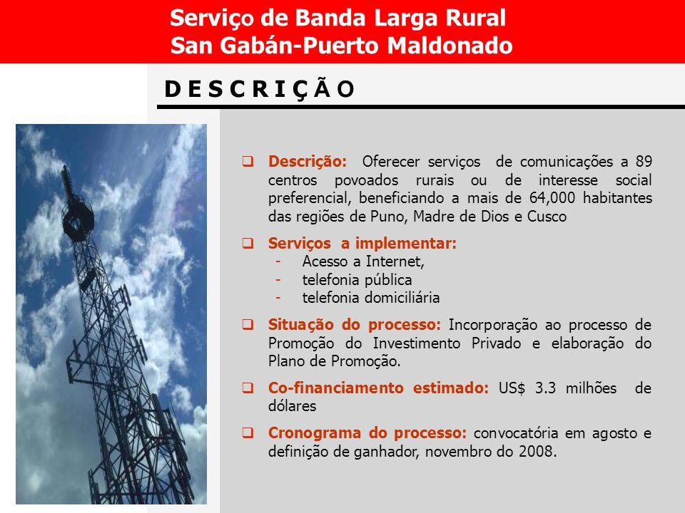 Serviço de Banda Larga Rural San Gabán-Puerto Maldonado