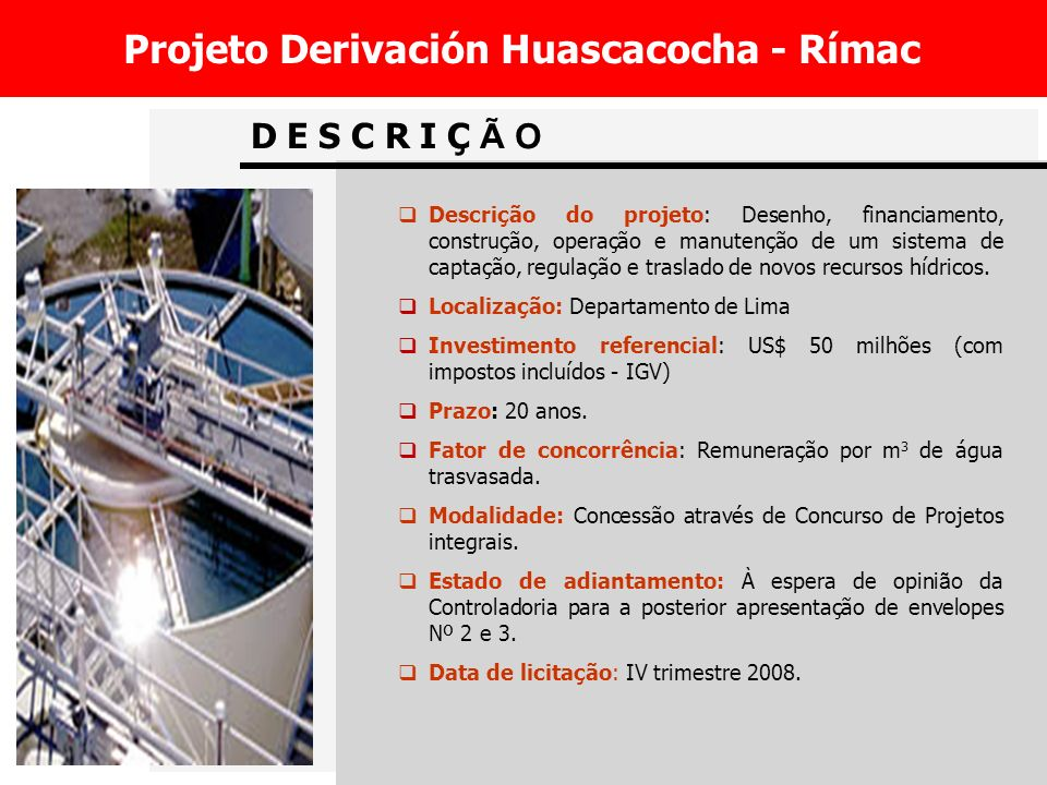 Projeto Derivación Huascacocha - Rímac